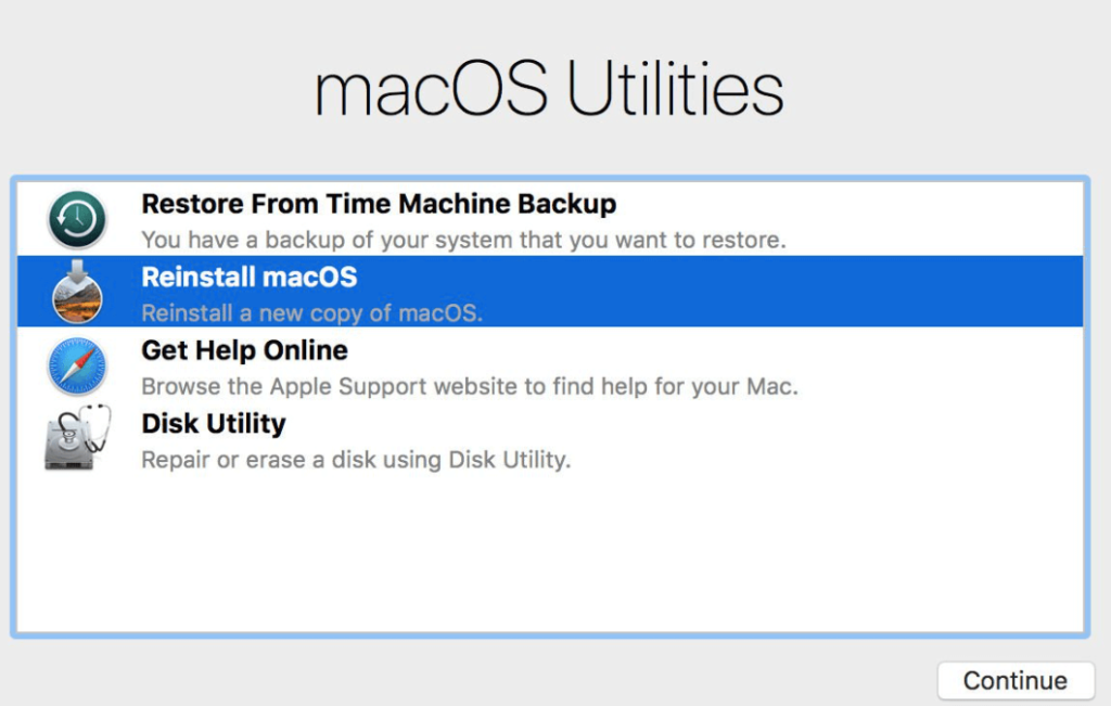 Disk Utility in mac recovery mode