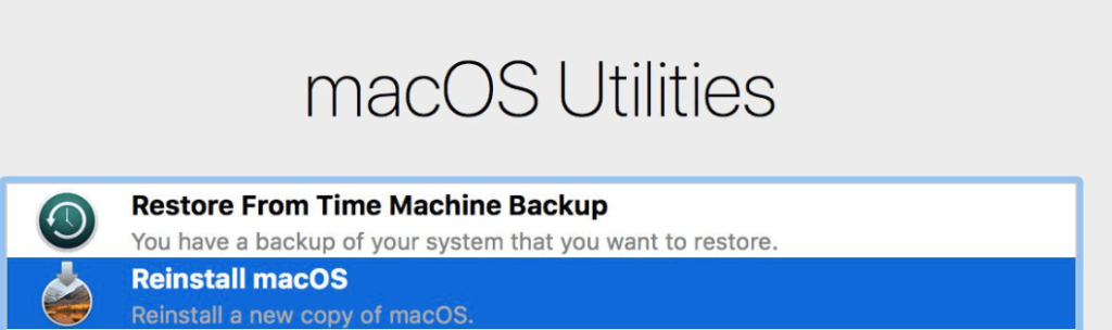Reinstall macOS recovery mode