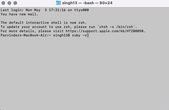 check ruby installion on mac