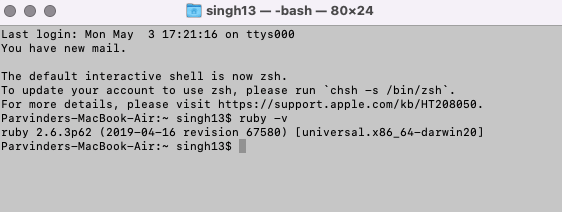 Ruby is installed on mac