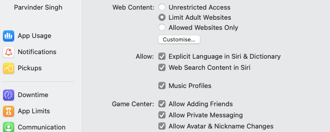 click on cutomize to add websites and block them on safari mac