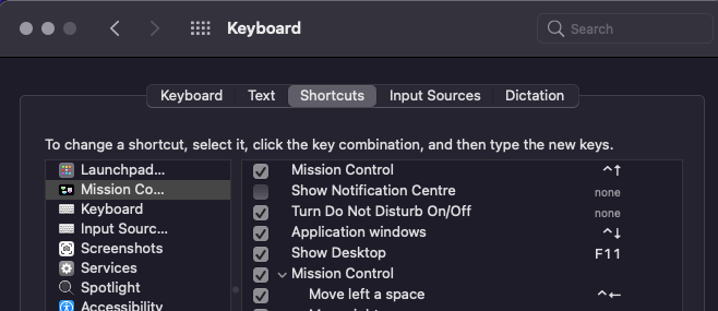 Open shortcuts and screenshot setting commands