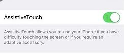 Turn on AssistiveTouch and put home button iphone screen