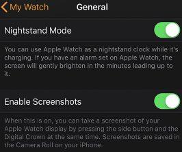 Turn on screenshot My apple watch app