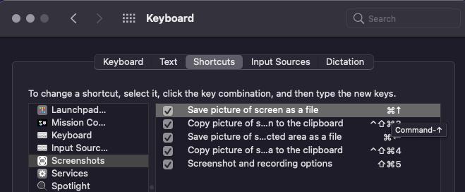 select keyboard keys for Mac screenshot and cropping