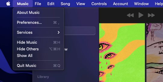Open preferences in Apple music app on Mac