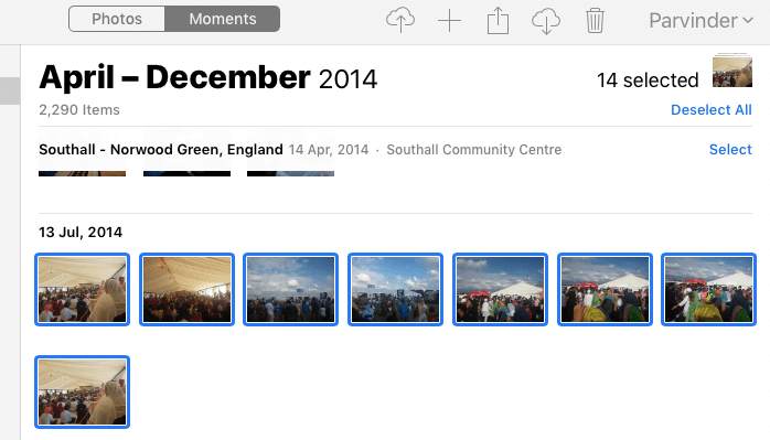 Select multiple photos you want to delete from icloud