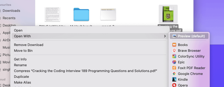 1 Open PDF document using preview mac