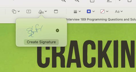4 click on the signatur to add it to the PDF document