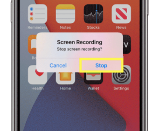 tap stop recording to disable and save iphone screen recording