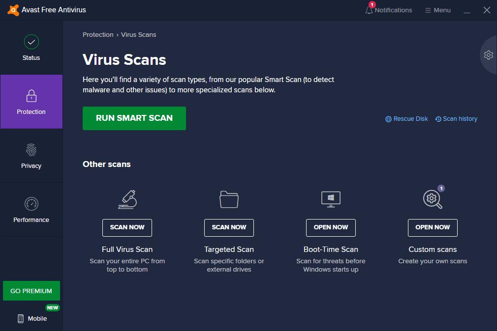 Avast Free Mac antivirus Security program