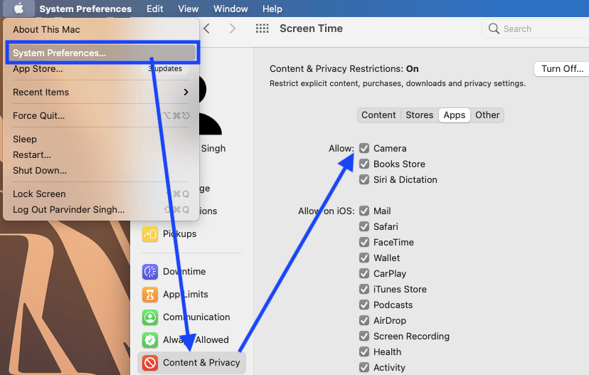 Make sure Mac's camera is not restricted via Screen Time
