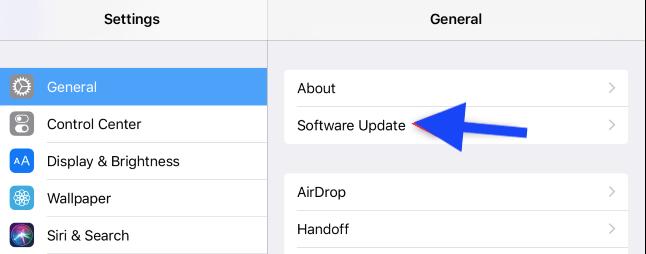 Settings > General > Software Update.