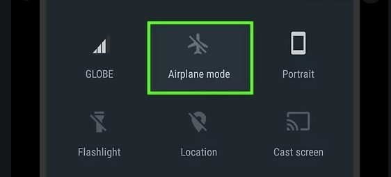 Toggle off airplane mode on android