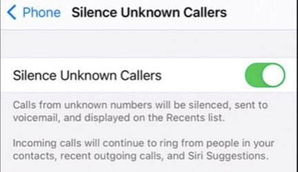 Turn off Silence Unknown Callers iphone