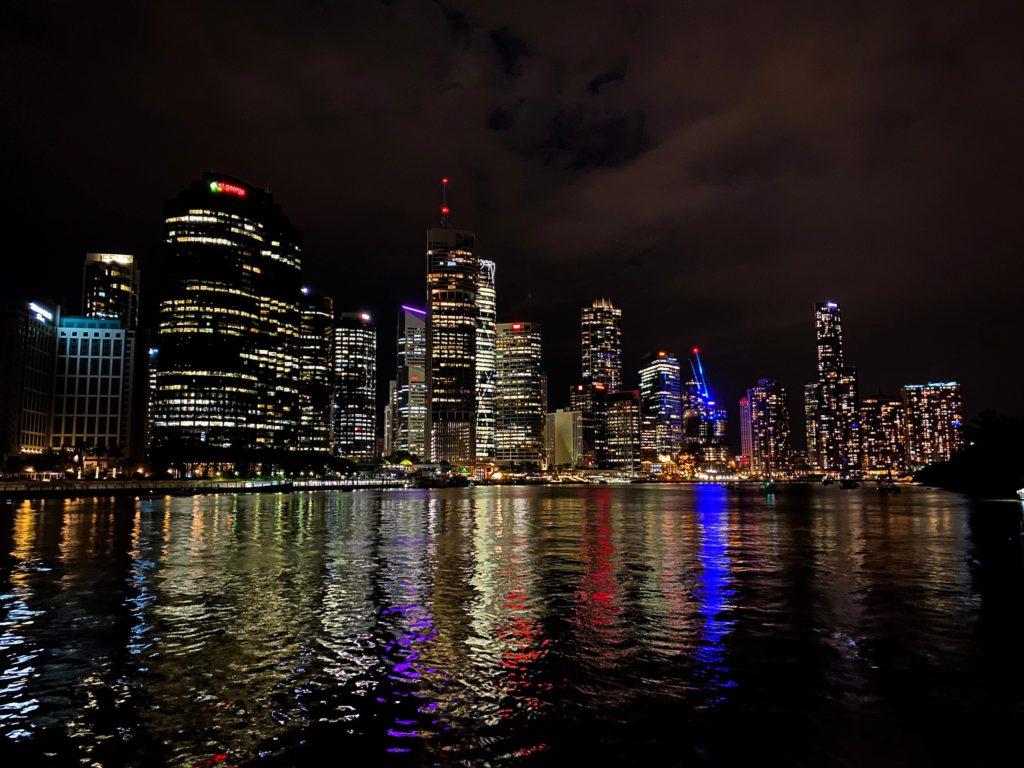 Brisbane City at night, taken on the iPhone 11 camera app