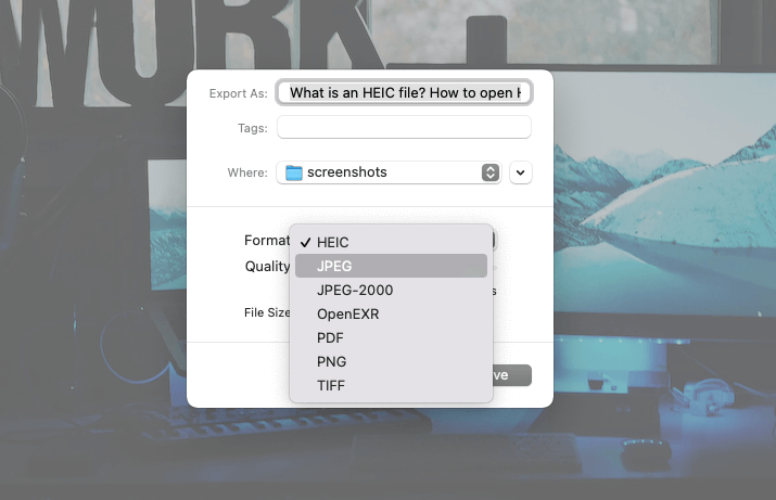 Change format from HEIC to JPEG or PNG