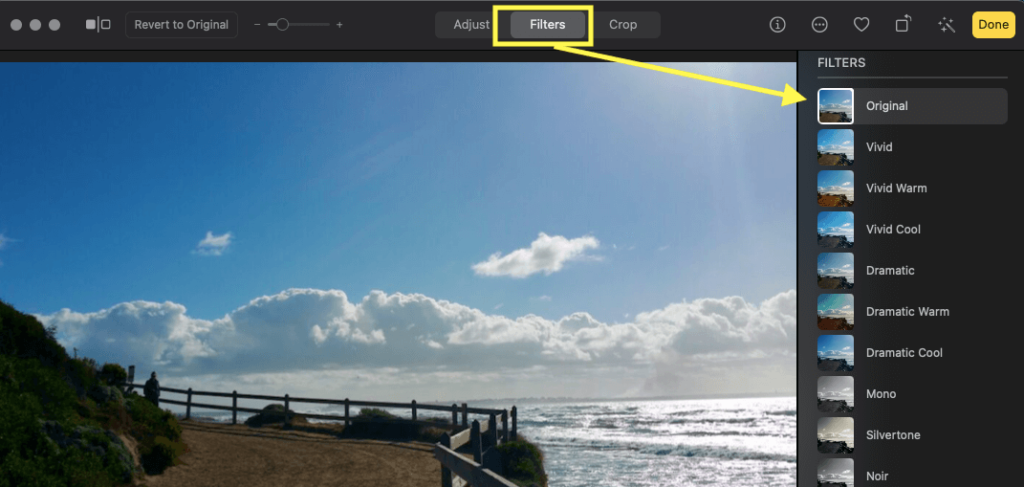 Click on filters to add different filters in photos on mac Like Vivid, mono, Noir