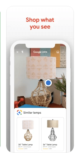 Shop scan what you see around you With google lens camer on iPhone