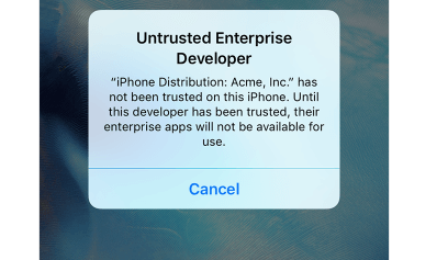 app isn't trusted on your device