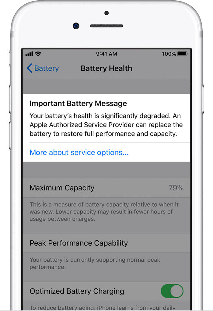 If battery health has degraded significantly the below message will also appear