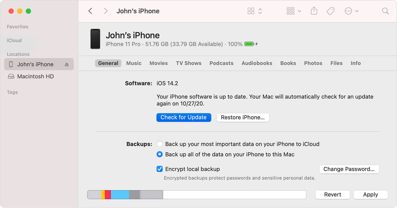 Update iPhone 11 Pro iPhone 11 Pro Max using finder on new Mac OS
