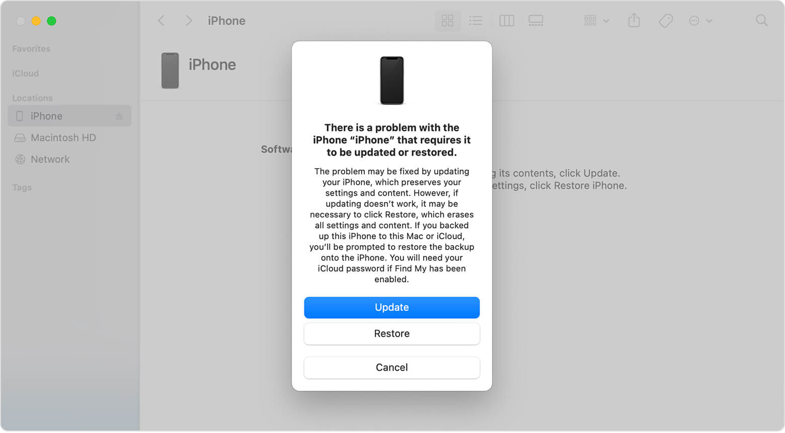 download the software for your iphone and update