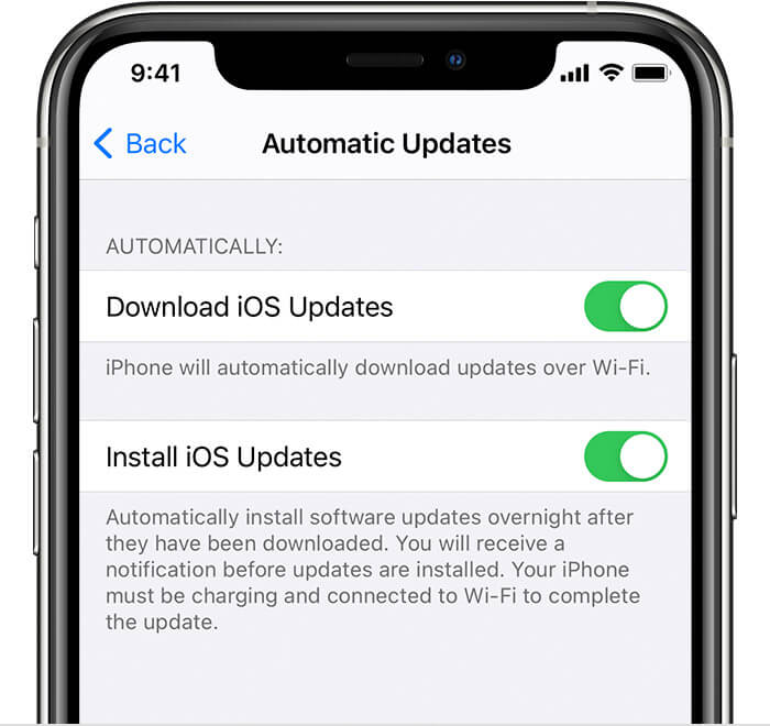set up automatic updates on iPhone 11 Pro and Pro Max