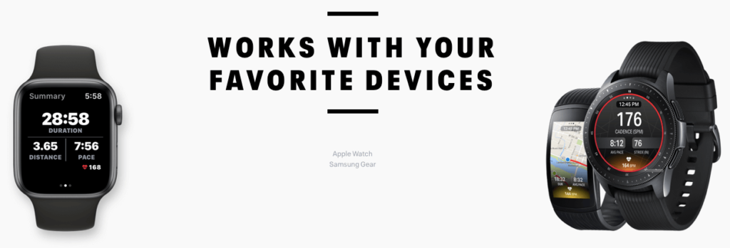 Map My Walk app works with the Apple Watch, Samsung Gear, Garmin, Suunto, Polar and Fitbit wearables
